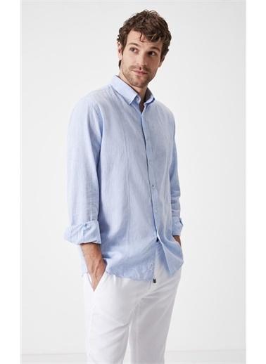 Boris Becker Boris Becker Uzun Kol Gömlek Yaka Düz  Regular Fit Erkek Gömlek Mavi